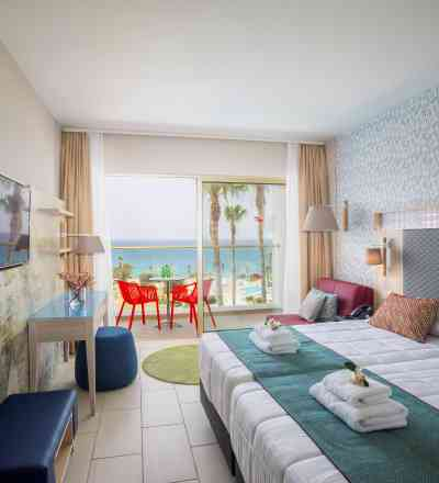 Elegant twin/double room at Leonardo Laura Beach & Splash Resort with sea view